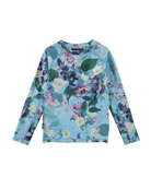 Neptune Floral-Print Long-Sleeve Rash Guard, Size 18M-14