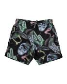 Nario Neno Signs Swim Shorts, Size 2T-10