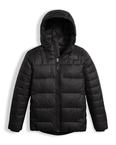 Boys' Double Down Zip-Up Hooded Jacket, Black, Size XXS-XL