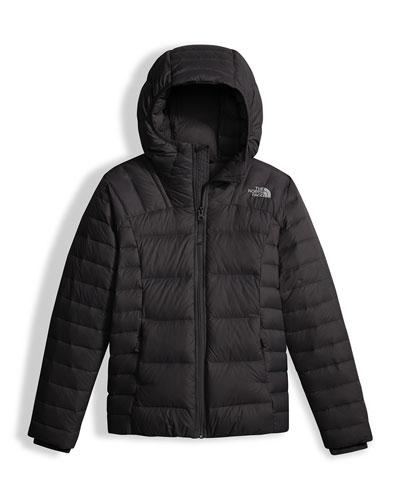 Girls' Double Down Zip-Up Hooded Jacket, Black, Size XXS-XL
