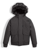 Gotham Down Hooded Jacket w/ Faux-Fur Trim, Gray, Size XXS-XL