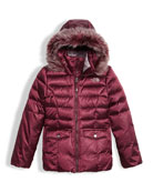 Gotham 2.0 Down Hooded Jacket w/ Faux-Fur Trim, Red, Size XXS-XL