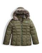 Gotham 2.0 Down Hooded Jacket w/ Faux-Fur Trim, Green, Size XXS-XL
