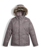 Greenland Down Parka w/ Faux-Fur Trim, Gray, Size XXS-XL