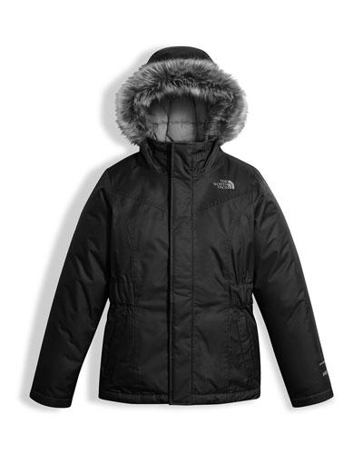 Greenland Down Parka w/ Faux-Fur Trim, Black, Size XXS-XL