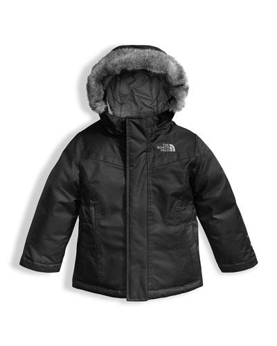 Greenland Down Parka w/ Faux-Fur Trim, Black, Size 2-4T