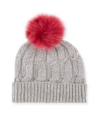 Metallic Seed-Stitch Beanie Hat w/ Fur Pompom