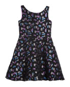 Confetti Night Sleeveless Metallic Dress, Size 4-6X