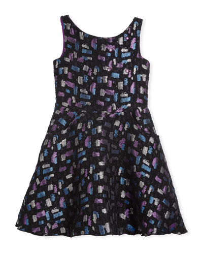 Confetti Night Sleeveless Metallic Dress, Size 4-6X