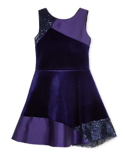 Zoe Velvet Colorblock Sleeveless Dress, Size 7 - 16