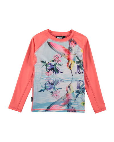 Neptune Bird-Print Long-Sleeve Rash Guard, Size 2T-12