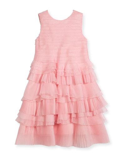 Organza Pleated Ruffle Dress, Size 4-14
