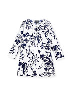 Cotton Scribbles-Print Caftan, White/Blue, Size 2-14