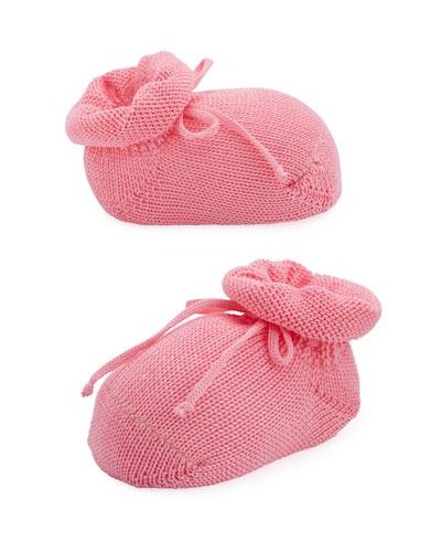 Basic Cotton Bootie w/ Bow, Medium Pink, Infant