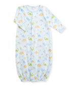 Dino Dudes Convertible Pima Sleep Gown, Size Newborn-Small