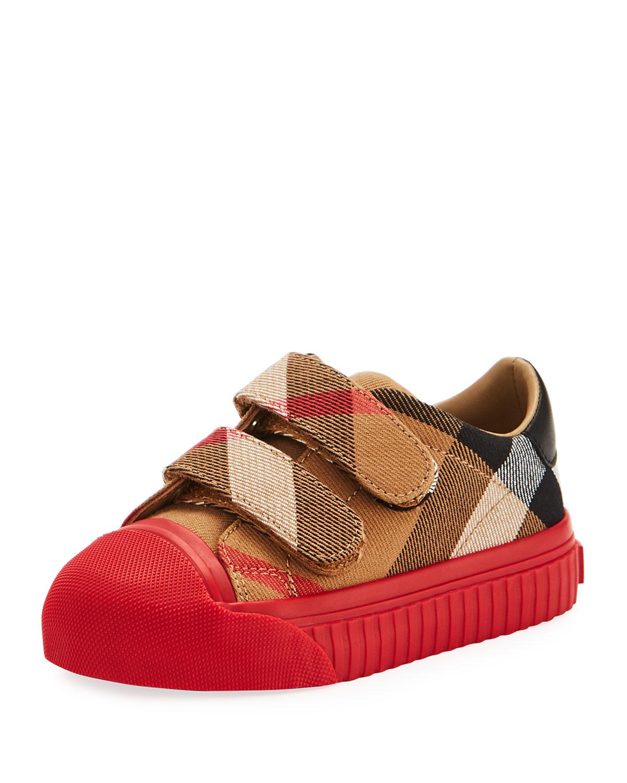 Belside Check Sneaker BeigeRed Toddler Sizes 710