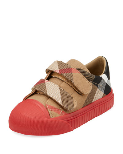 Belside Check Sneaker, Beige/Red, Toddler/Youth Sizes 10T-4Y