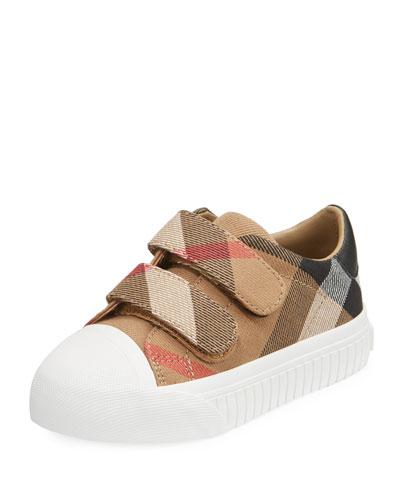 Belside Check Sneaker, Beige/White, Toddler Sizes 7-10