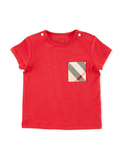Cotton Check-Pocket Jersey Tee, Red, Size 6M-3Y