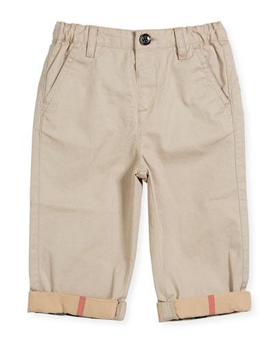Ricky Cotton Pants w/ Check Trim, Gray, Size 6M-3Y