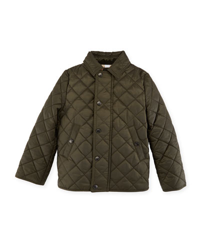 Luke Quilted Snap-Front Jacket, Olive, Size 6M-3