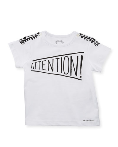 Attention Graphic Cotton Tee, White, Size 6M-3Y