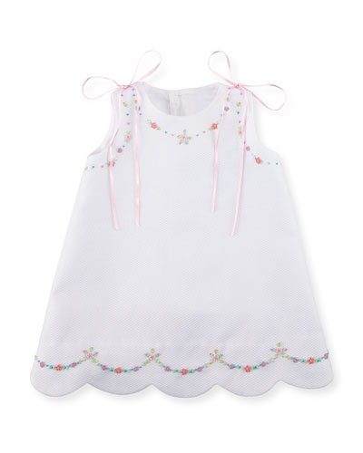 Pique Dress w/ Floral Embroidery, Size 3-18 Months