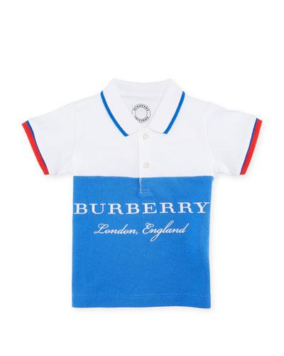 Dary Colorblock Logo Polo Shirt, Blue, Size 6M-3