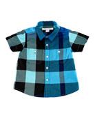 Mini Camber Short-Sleeve Check Shirt, Blue, Size 6M-3T