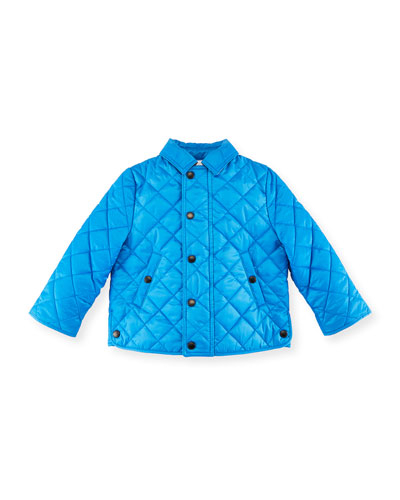 Luke Quilted Snap-Front Jacket, Size 12M-3Y