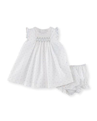 Swiss Dot Dress w/ Ruffle Bloomers, Size Newborn-9M