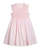 Sleeveless Smock Embroidered Dress, Pink, Size 4-6X