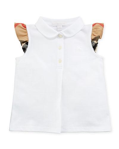 Tia Cotton-Stretch Polo Shirt w/ Ruffle Check Sleeves, White, Size 6M-3Y