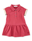 Cali Smocked Raglan Polo Dress, Pink, Size 6M-3Y
