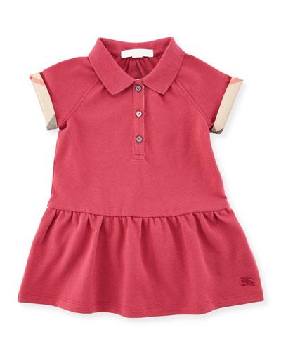 Cali Smocked Raglan Polo Dress, Pink, Size 6M-3Y