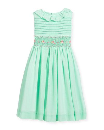 Smocked Ruffle-Collar Dress, Turquoise, Size 7-10