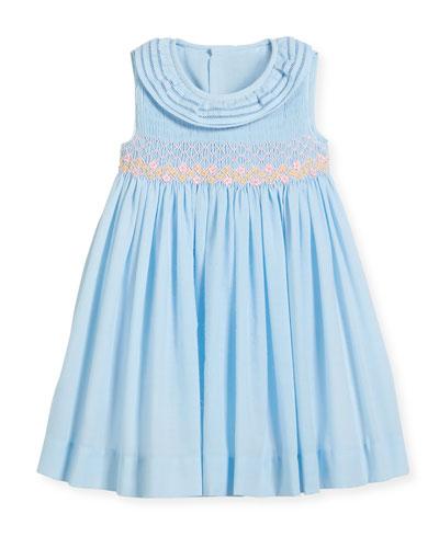 Smock Dress w/ Ruffle Neck, Size 12-24 Months