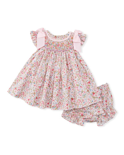 Floral-Print Smock Dress w/ Bloomers, Size Newborn-9M