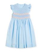 Smock Dress w/ Ruffle Sleeves, Size 4-6X