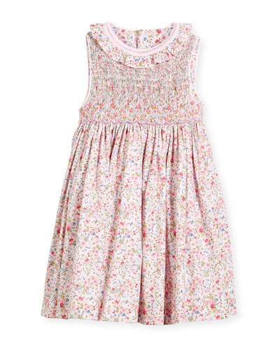Floral Sleeveless Smock Dress, Size 4-6X