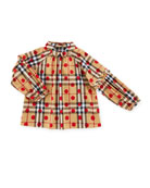 Haleena Check & Polka-Dot Long-Sleeve Blouse, Red, Size 6M-3Y