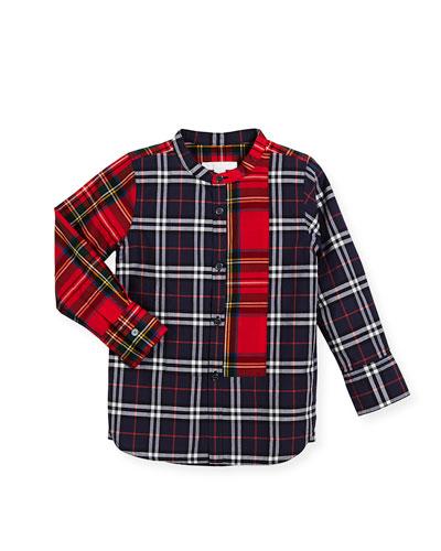 Arcus Mixed-Check Mandarin-Collar Shirt, Navy, Size 4-14