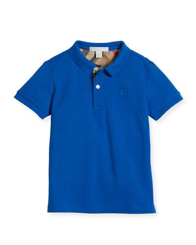 Boys' Cotton Polo, Blue, Size 4-14