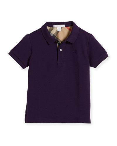Boys' Cotton Polo, Purple, Size 4-14
