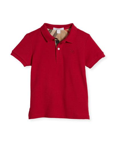 Boys' Cotton Polo, Pink, Size 4-14