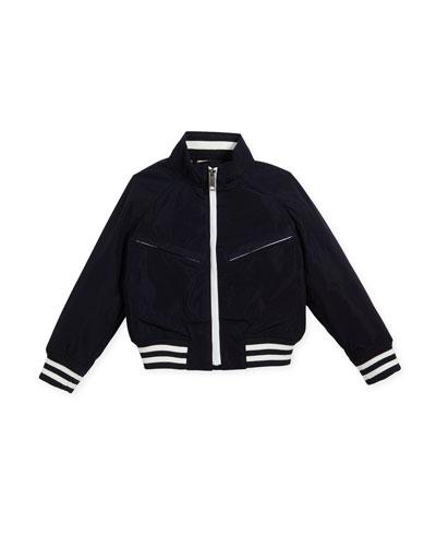 Jez Striped-Trim Bomber Jacket, Size 4-14