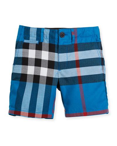 Tristen Check Lightweight Chino Shorts, Blue, Size 4-14