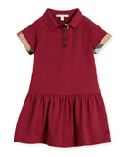 Cali Smocked Raglan Polo Dress, Pink, Size 4-14