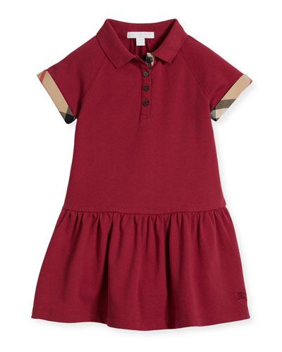 Cali Smocked Raglan Polo Dress, Pink, Size 4-14