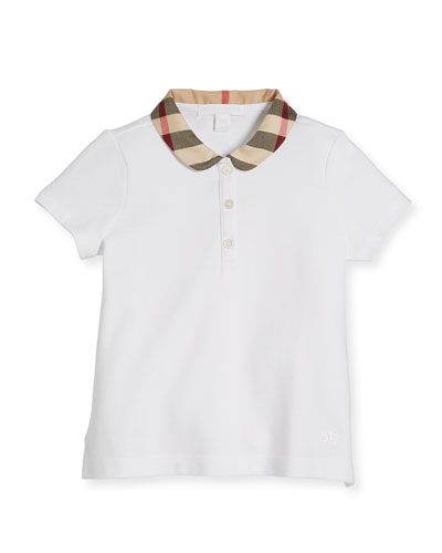 Cotton-Stretch Shirt w/ Check Peter Pan Collar, White, Size 4-14